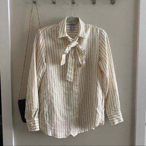 H&M white and Yellow Tie Long Sleeve Blouse
